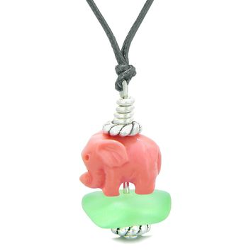 Sea Glass Mint Green Frosted Cloud Pink Elephant Lucky Charm Magic Amulet Pendant Adjustable Necklace