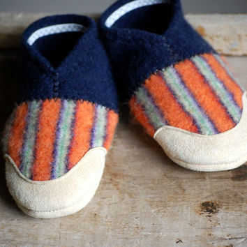 Kids Wool Slippers with Leather Soles, size 7.5, We All Fall Down, SALE