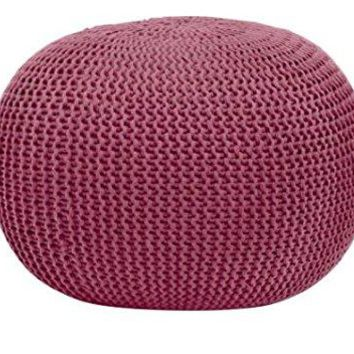 Round Knit Pouf (1, Purple)
