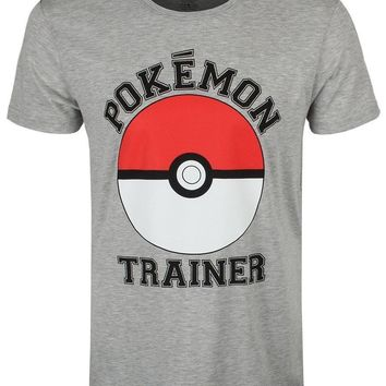 Trainer Men's Grey T-Shirt Tee Shirt Hipster Harajuku Brand Clothing T-Shirt Adult 100% Cotton Customized TeesKawaii Pokemon go  AT_89_9