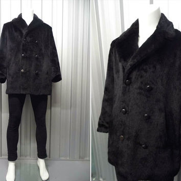 Vintage 60s 70s HARDY AMIES Mens Faux Fur Coat Black Fur Double Breasted Dandy Hunting Jacket 1970s Fashion British Designer Sport Coat