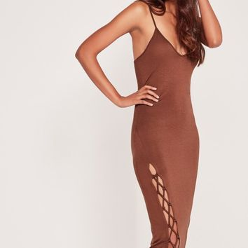 Missguided - Tie Up Bottom Midi Dress Brown