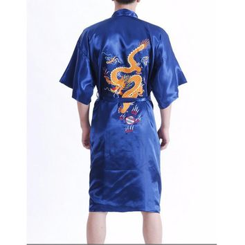 New Arrival Navy Blue Male Silk Robe Chinese Classic Embroidery Nightwear Traditional Kimono Gown Size S M L XL XXL XXXL 011017