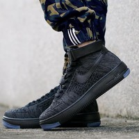 PEAPON Nike Air Force 1 Flyknit Mid-High 817420-010 Black For Women Men Running Sport Casual Shoes Sneakers