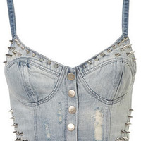 MOTO Bleach Stud Denim Bralet - Jersey Tops  - Apparel