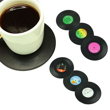6 Pcs/set Home Table Cup Mat Creative Decor Coffee Drink Placemat Tableware Spinning Retro Vinyl CD Record Drinks Coasters Hot