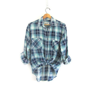 20% OFF SALE / Vintage distressed Plaid Flannel / Grunge Shirt / Button up shirt