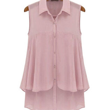Sleeveless Shirt Collar Chiffon Top