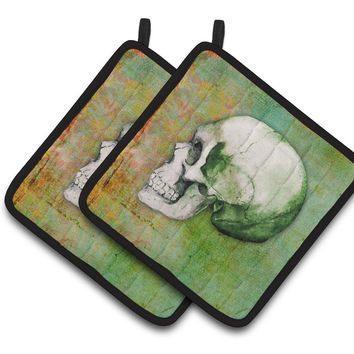 Day of the Dead Green Skull Pair of Pot Holders BB5122PTHD