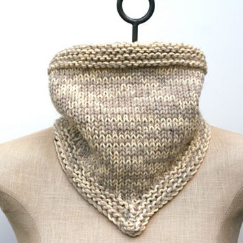 Ready to Ship: Oatmeal and Cream Child's Hand Knitted Cotton Wool Bandana Cowl Infinity Scarf