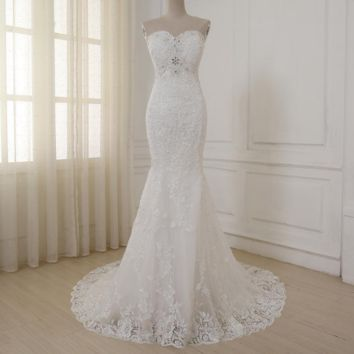Sexy Mermaid Wedding Dress Sweetheart Beaded Sequins Lace Applique Bridal Gowns