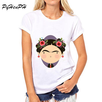PyHen 2017 New Hot Sale Mexico artistfrida kahlo style t-shirt women short sleeve tops Regular Sleeve Casual women clothing