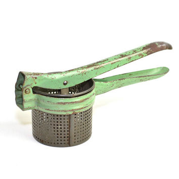 Rustic Kitchen Potato Ricer - Industrial Chic Home Styling - Metal Hand Tool, Chippy Mint Green Paint, Rust & Patina - Vintage Decor