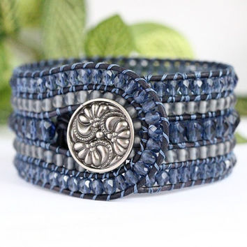Denim Blue Beaded Leather Cuff, 5 Row, Boho Chic, Handmade Jewelry, Beaded bracelet