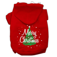 Scribbled Merry Christmas Screenprint Pet Hoodies Red Size M (12)