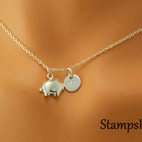 Pig Necklace Tiny Pig Necklace Tiny Pigglet Charm Pig Jewelry Personalized Piggy Pig Gifts Initial Necklace Sterling Silver Kids Necklace