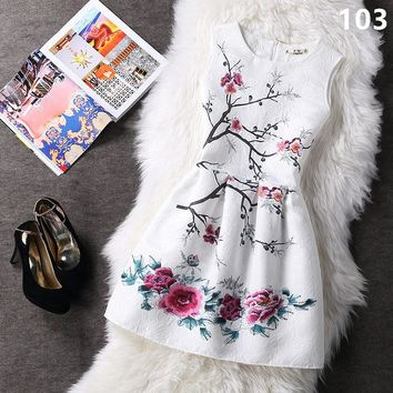 Summer style 2017 Fashion A-Line women maxi evening party casual vintage dresses printing sleeveless Vestidos de festa dress 153