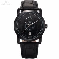 Genuine KS Brand Full Black Date Display Sub Dial Leather Band Strap Mechanical Watch Automatic Mens Dress Timepiece Gift /KS327