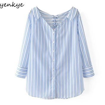 New Women Cut Out Collar Striped Shirt Blouse Long Sleeve V Neck Back Cord Grommets Loose Autumn Blouse Street Wear Tops