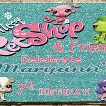Birthday Banner-Birthday Party Banner-Personalized-Custom Banners-Littlest Pet Shop
