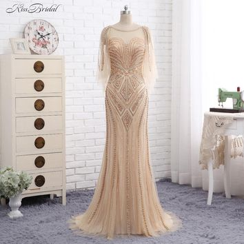 New Long Prom Dresses 2017 One Shoulder Single Long Sleeves Floor Length Side Slit Mermaid Beaded Evening Dress