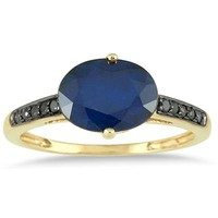 10k Yellow Gold Ruby 1/10 and Carat TDW Black Diamond Fashion Ring