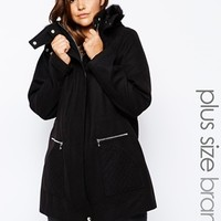 New Look Inspire Wool Parka With Leather Look Trim