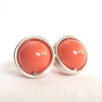 Coral Pearl Stud Earings, Sterling Silver Post Earrings, Wire Wrapped Jewelry Handmade, Salmon Earrings, Coral Jewelry
