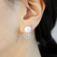 Front and Back Pearl and Cubic Spikes,Starburst Earrings, Wrap around dangle cuff earrings, Ear Jakets,E0578S
