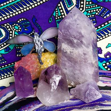 Variety of Amethyst Points & Stained Glass Fairy