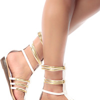 White Faux Leather Caged Mini Gladiator Wedge Sandals
