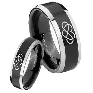 His Her Beveled Infinity Love Satin Black 2 Tone Tungsten Wedding Rings Set
