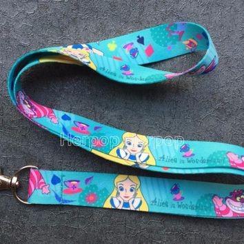 Retail 1 pcs cartoon Alice In Wonderland Princess cats Straps Lanyard ID Badge Holders Mobile Neck Keychains For Party Gifts