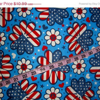Patriotic flag flowers fabric red white blue 1yd for quilting sewing cotton crafting material