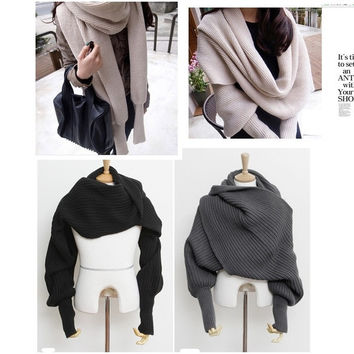 Unisex Winter Warmer Knitting Wool Scarf With Sleeve Soft Wrap Shawl Scarves = 1920208004