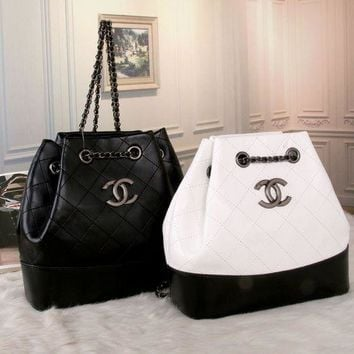 ONETOW Chanel' Women Casual Fashion Personality Quilted Multicolor Bucket Backpack Metal Chain  Double Shoulder Bag