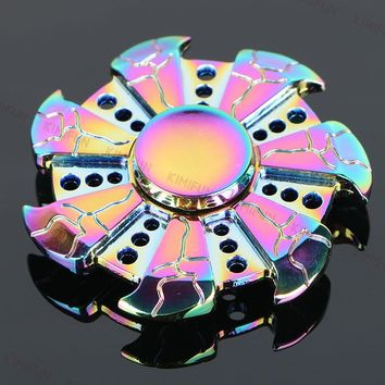 NEW Crackle Hot Wheels cool Rainbow hand spinner Metal Tri EDC Hand Finger Spinner Focus Anxiety Relief Stress Gift Toys Kids