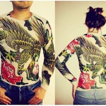 Unisex Punk Eagle Animal Tattoo Shirt Mesh Long Sleeves For Men Women Free Shipping 2018 New Fashion Summer