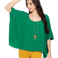 Pretty Green Top - Oversized Top - Boxy Top - Poncho Top - $35.50