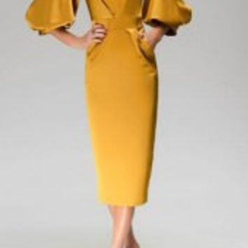 Stylish Round Neck Half Lantern Sleeve Solid Color Dress For Women