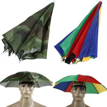 2 Color Umbrella Hat Sun Shade Camping Fishing Hiking Festivals Outdoor Brolly Sun Protection Rain Umbrella Watermelon/Camo