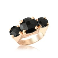 Rebecca Designer Rings Tennis -  Black Hydrothermal Triple Stone Ring