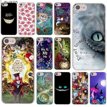 Lavaza Alice in Wonderland cat Hard Cover Case for Apple iPhone 8 7 6 6S Plus 5 5S SE 5C 4 4S X 10 Coque Shell