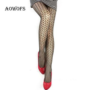 AOWOFS Women's Black Tights Pantyhose Grid Stripe Geometry Female Stockings Sexy Panty Hose Silk Tights 24 Design 2017 New Style