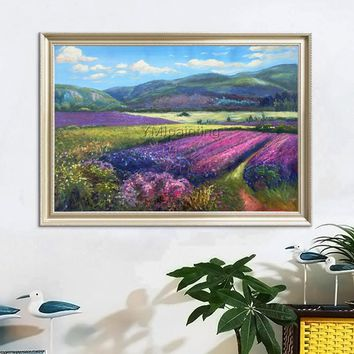 Original Landscape painting lavender sight on Canvas,flowers and mountain oil painting,Wall Pictures for Living room home decor art
