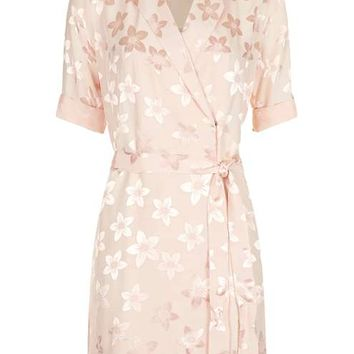 Jacquard Floral Pyjama Wrap Dress - Dresses - Clothing