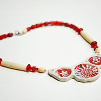 Red pottery necklace,spiral necklace,ceramic necklace,Red coral and clay,collar necklace,nerd necklace,red fossil necklace,clay bone glass,
