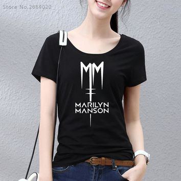 Girl Classic Marilyn Manson Rock T Shirt Women Tshirt 2017 Short Sleeve Cotton Casual T-shirt Tee For Woman