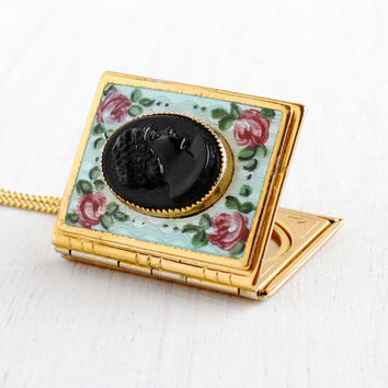 Vintage Jet Black Cameo Book Locket Necklace - Gold Tone Mid Century 1950s Rectangular Pendant Enamel Rose Flower Jewelry