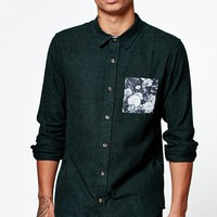 On The Byas Floral Pocket Long Sleeve Button Up Shirt - Mens Shirt - Green